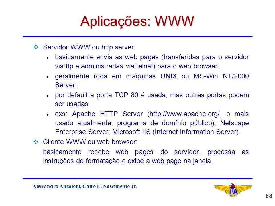 Aplicações: WWW Servidor WWW ou http server:
