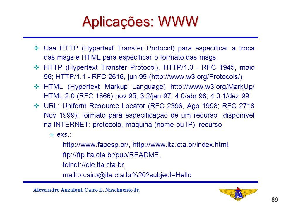 Aplicações: WWW Usa HTTP (Hypertext Transfer Protocol) para especificar a troca das msgs e HTML para especificar o formato das msgs.