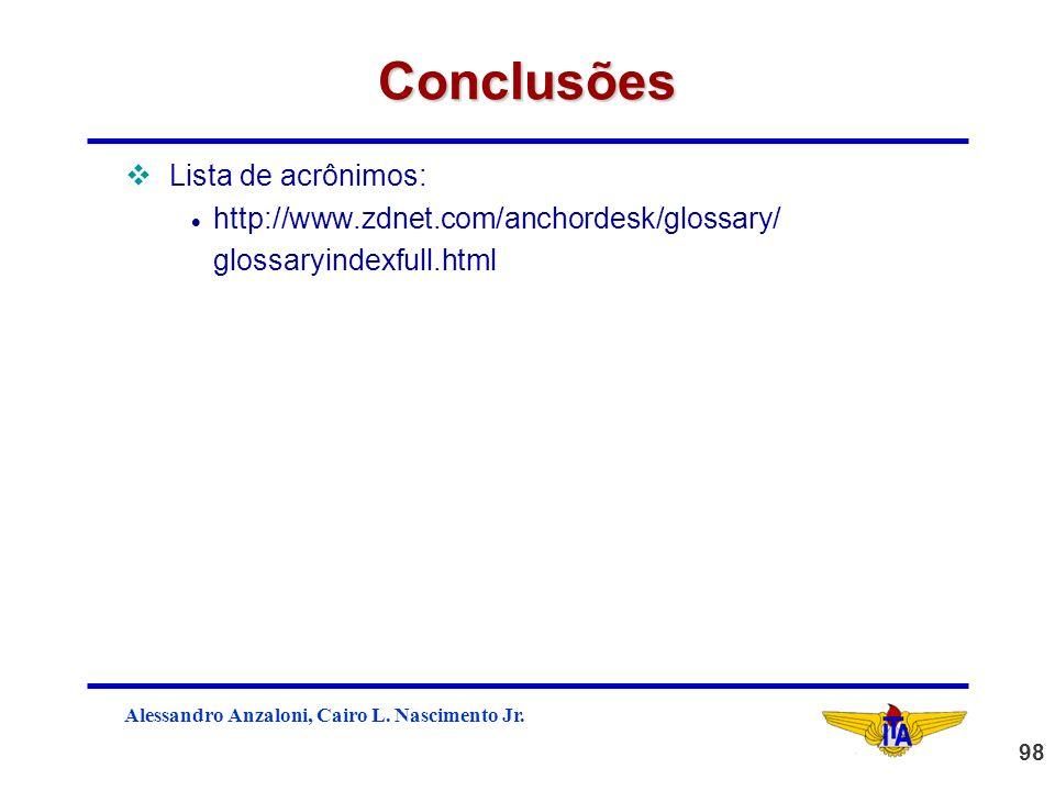 Conclusões Lista de acrônimos: