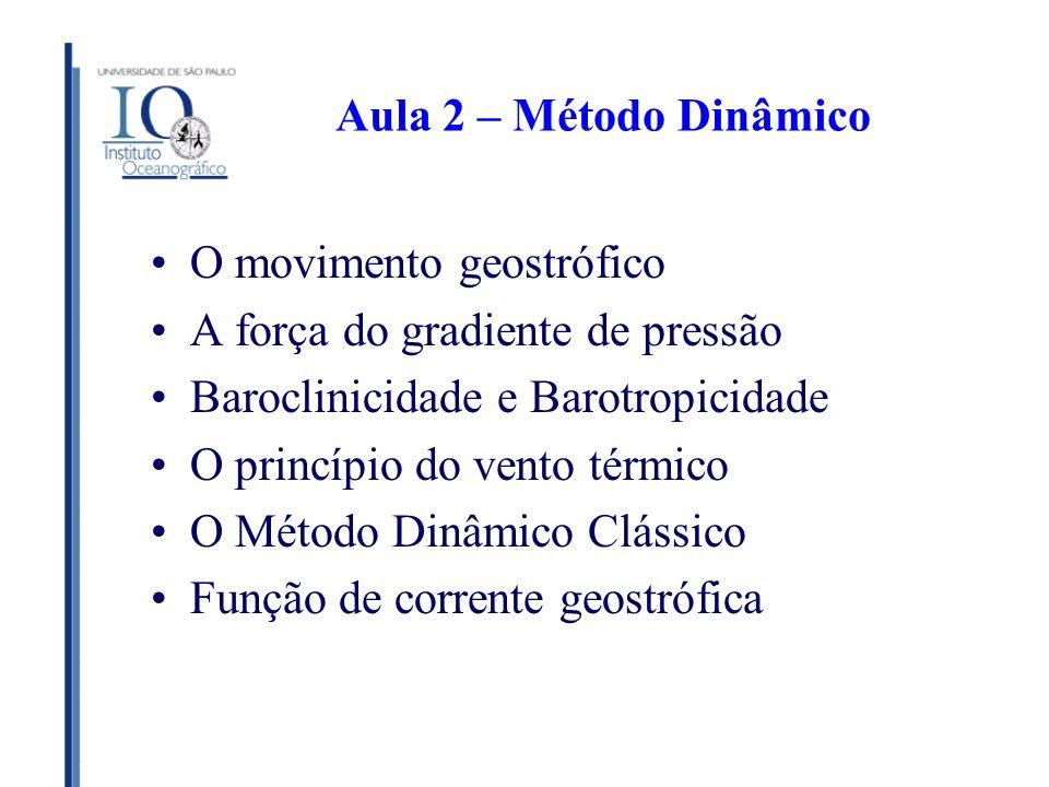 Aula 2 – Método Dinâmico O movimento geostrófico. A força do gradiente de pressão. Baroclinicidade e Barotropicidade.