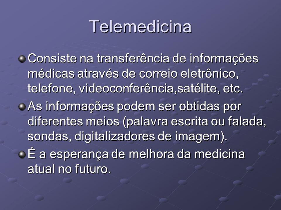 TelemedicinaConsiste na transferência de informações médicas através de correio eletrônico, telefone, videoconferência,satélite, etc.