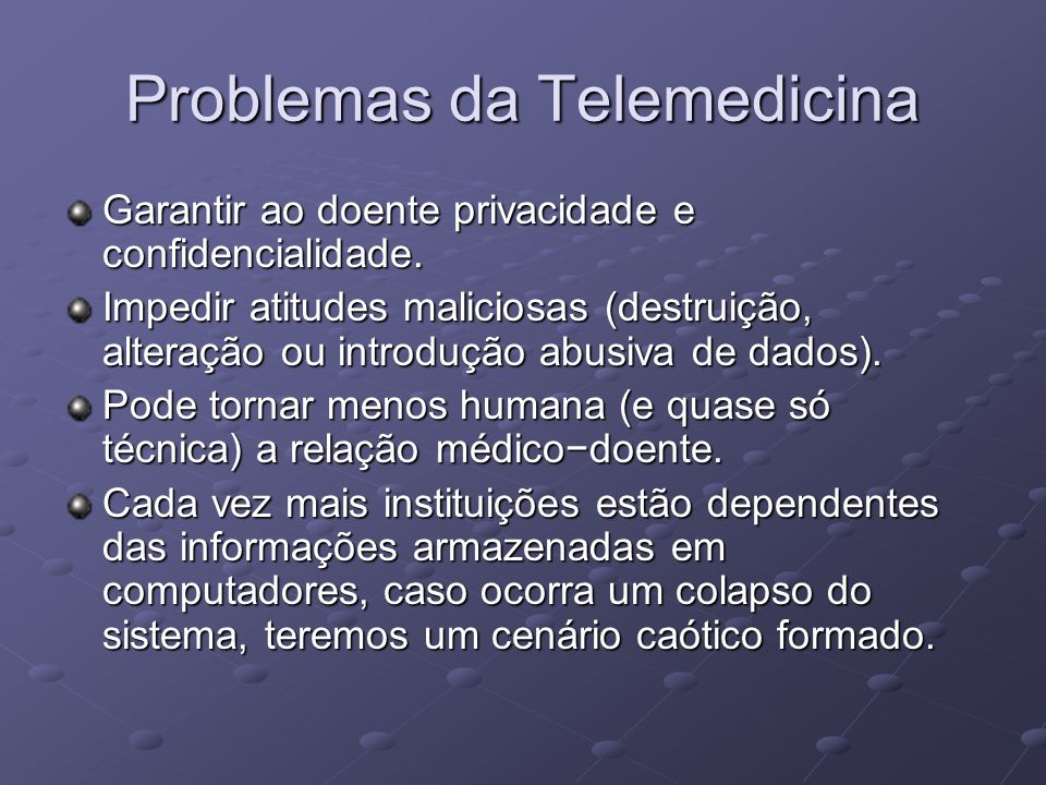 Problemas da Telemedicina