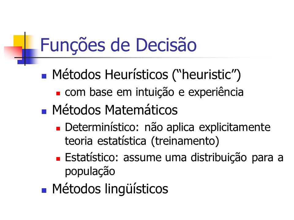 Funções de Decisão Métodos Heurísticos ( heuristic )