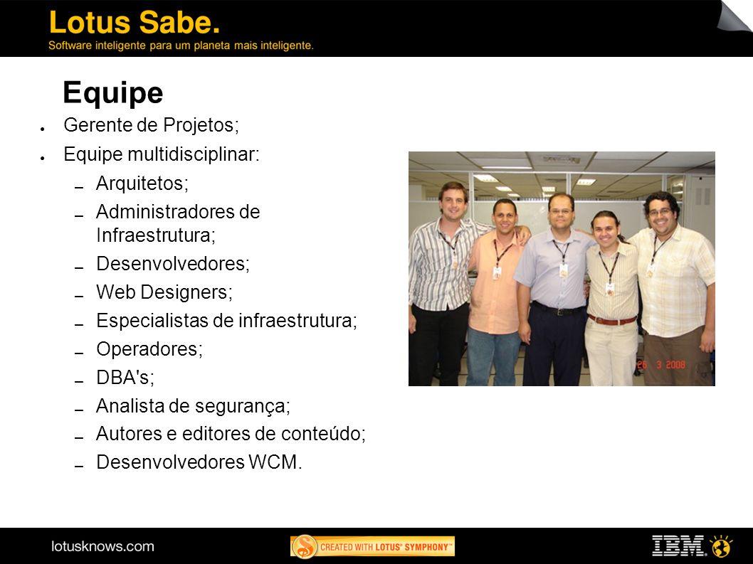 Equipe Gerente de Projetos; Equipe multidisciplinar: Arquitetos;