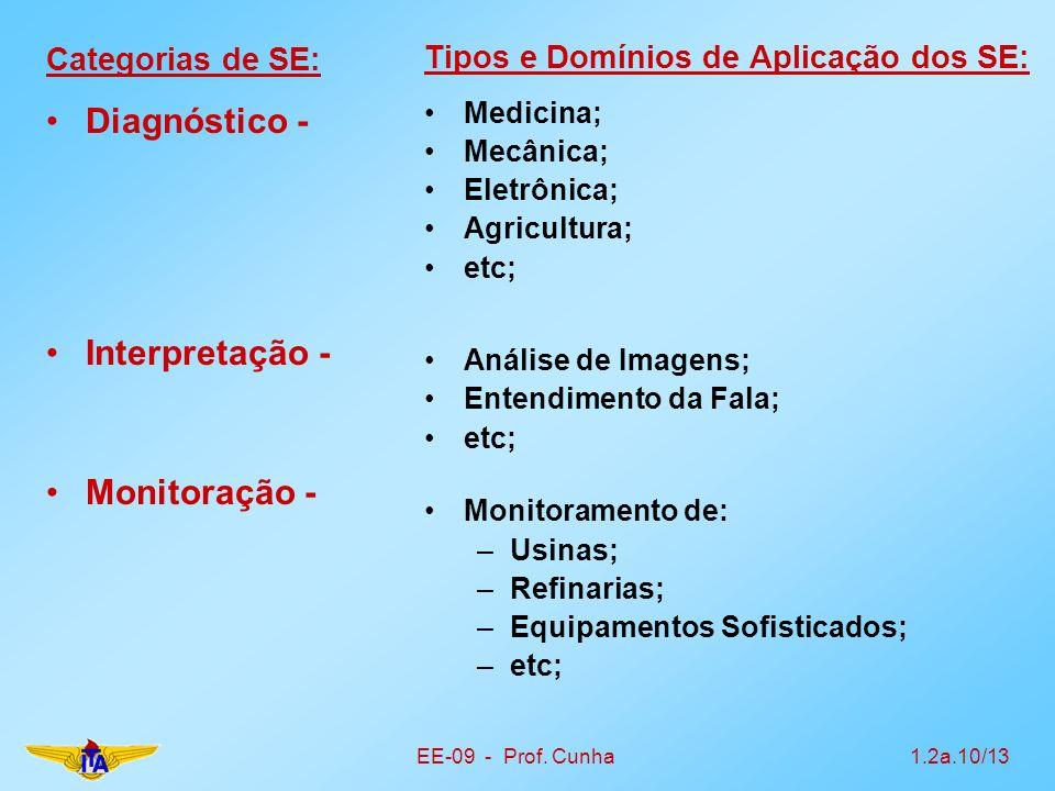 Diagnóstico - Interpretação - Monitoração - Categorias de SE: