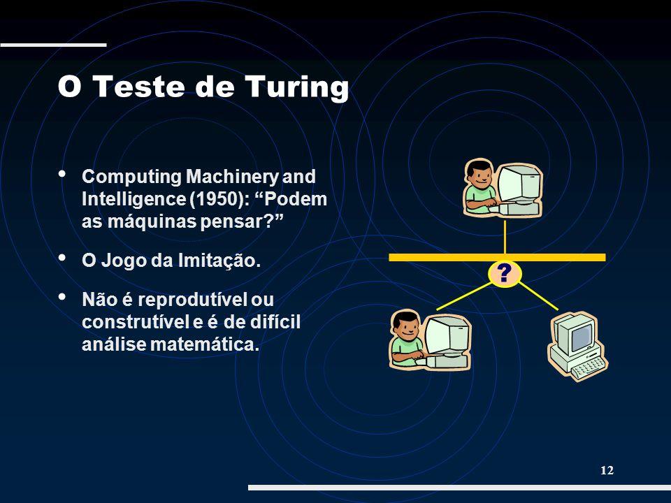 O Teste de Turing Computing Machinery and Intelligence (1950): Podem as máquinas pensar O Jogo da Imitação.