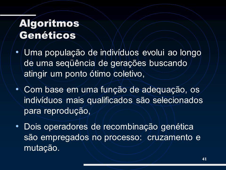 Algoritmos GenéticosUma população de indivíduos evolui ao longo de uma seqüência de gerações buscando atingir um ponto ótimo coletivo,