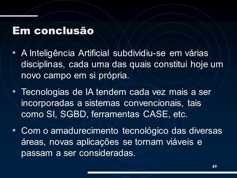 Em conclusão A Inteligência Artificial subdividiu-se em várias disciplinas, cada uma das quais constitui hoje um novo campo em si própria.