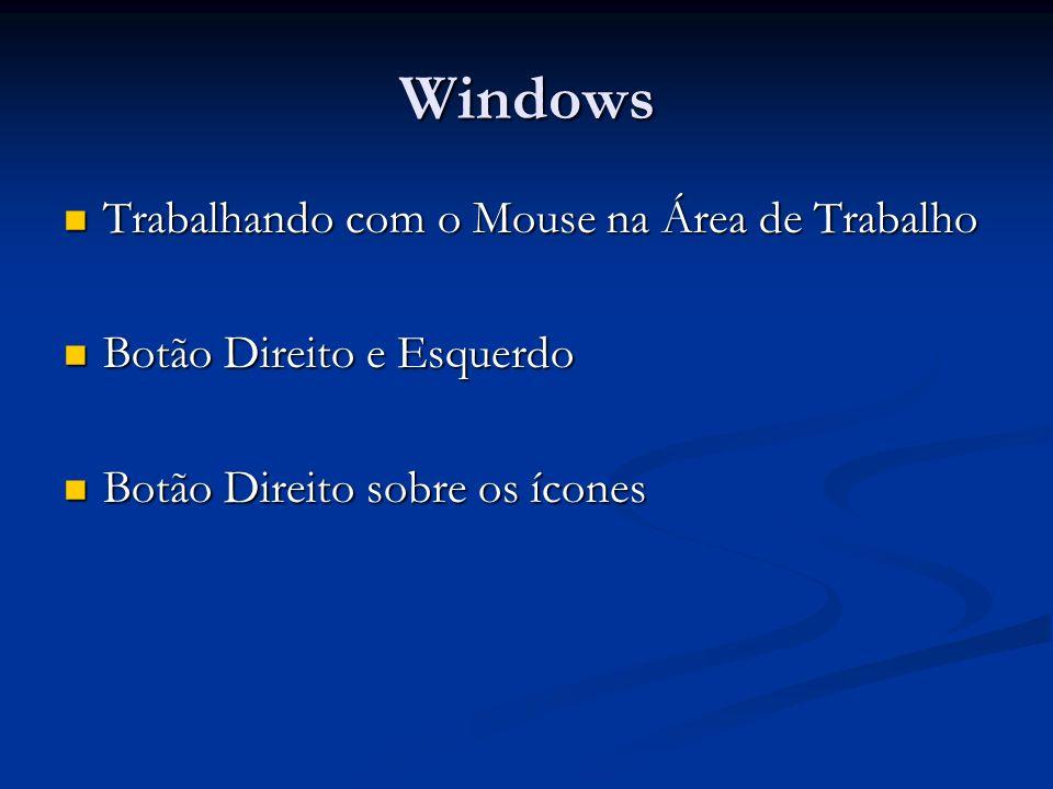 Windows Trabalhando com o Mouse na Área de Trabalho