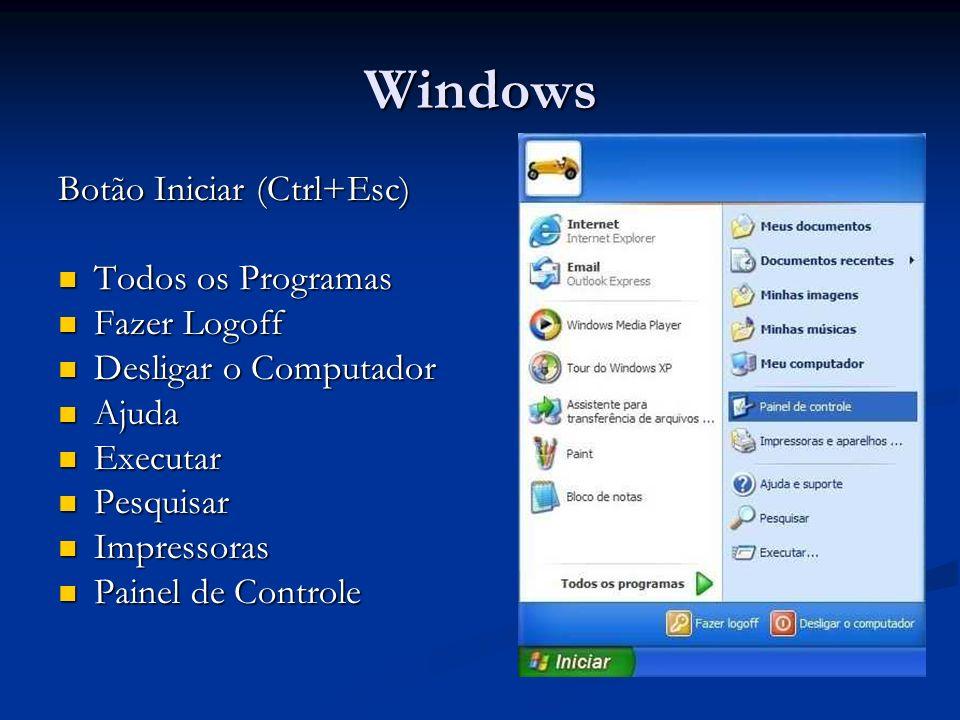 Windows Botão Iniciar (Ctrl+Esc) Todos os Programas Fazer Logoff