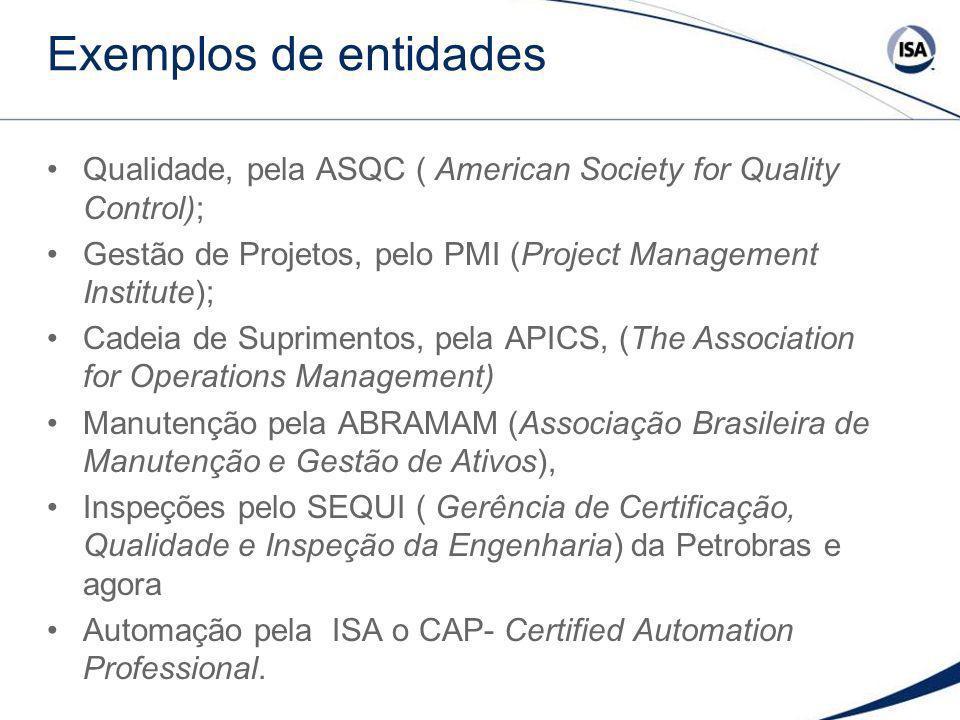 Exemplos de entidades Qualidade, pela ASQC ( American Society for Quality Control); Gestão de Projetos, pelo PMI (Project Management Institute);