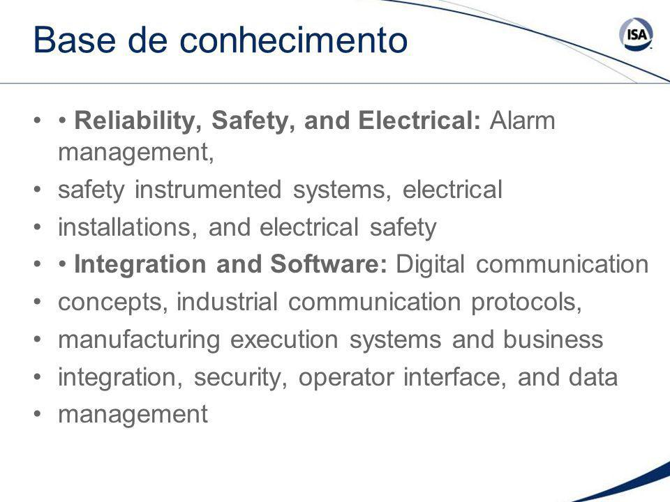 Base de conhecimento• Reliability, Safety, and Electrical: Alarm management, safety instrumented systems, electrical.