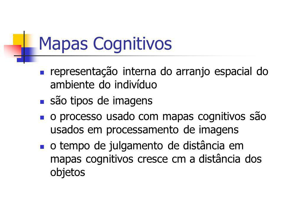 Mapas Cognitivos representação interna do arranjo espacial do ambiente do indivíduo. são tipos de imagens.