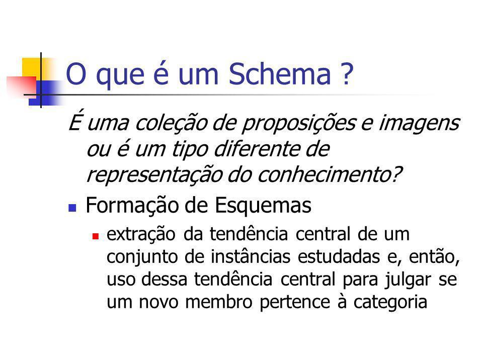 O que é um Schema É uma coleção de proposições e imagens ou é um tipo diferente de representação do conhecimento