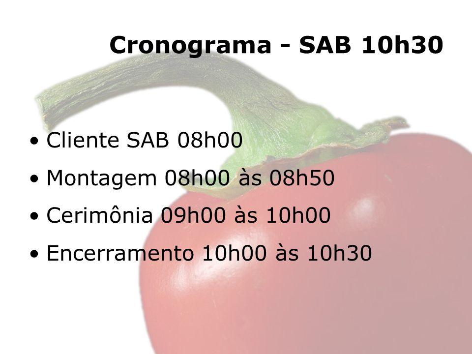 Cronograma - SAB 10h30 Cliente SAB 08h00 Montagem 08h00 às 08h50