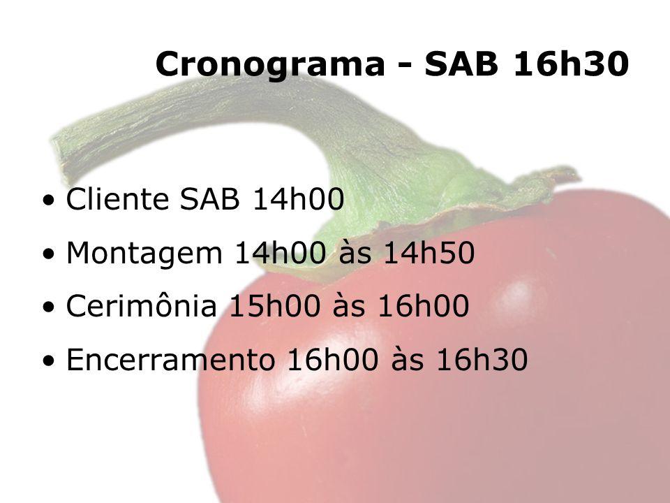 Cronograma - SAB 16h30 Cliente SAB 14h00 Montagem 14h00 às 14h50