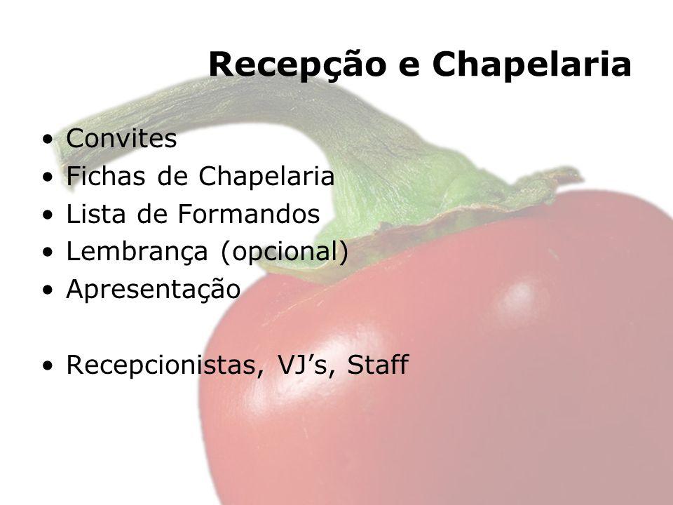 Recepção e Chapelaria Convites Fichas de Chapelaria Lista de Formandos