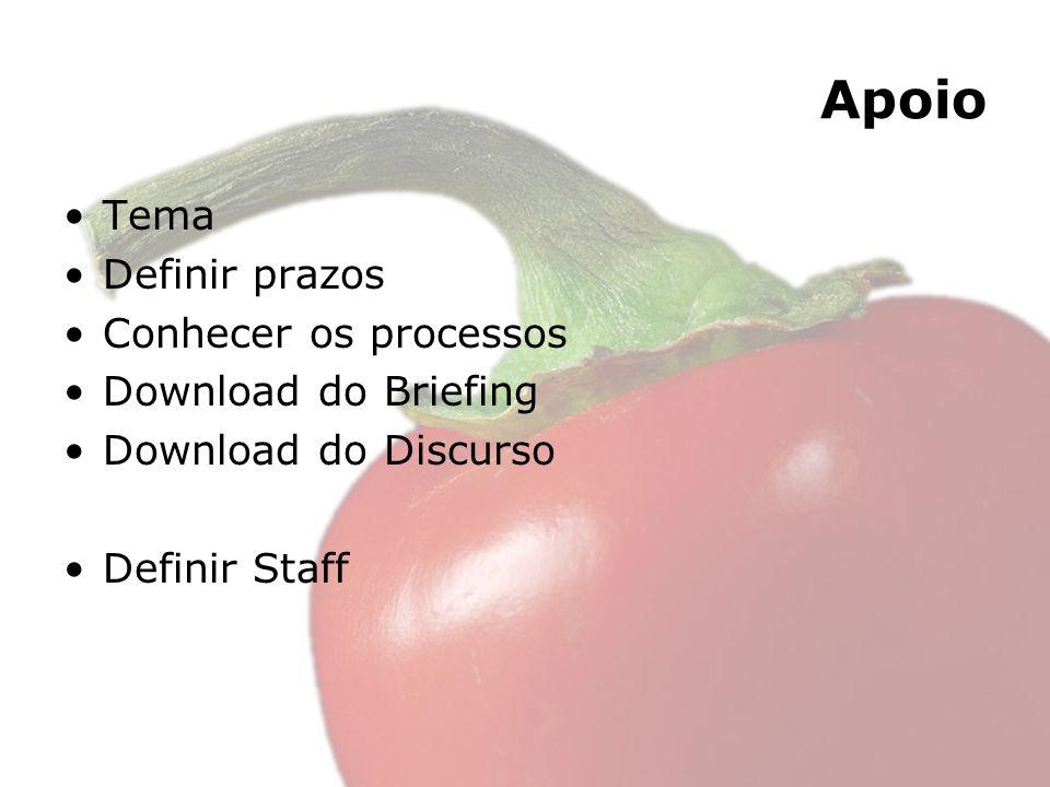 Apoio Tema Definir prazos Conhecer os processos Download do Briefing