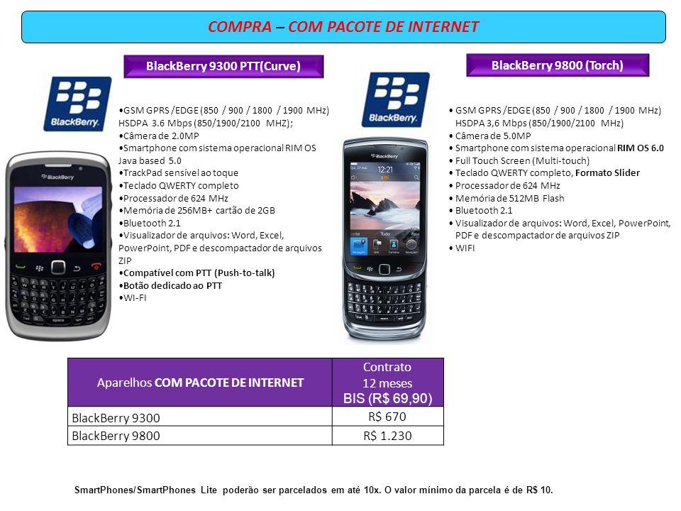 COMPRA – COM PACOTE DE INTERNET BlackBerry 9300 PTT(Curve)