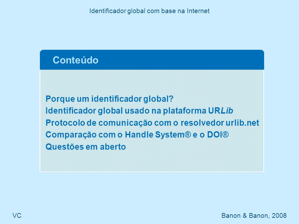 Identificador global com base na Internet
