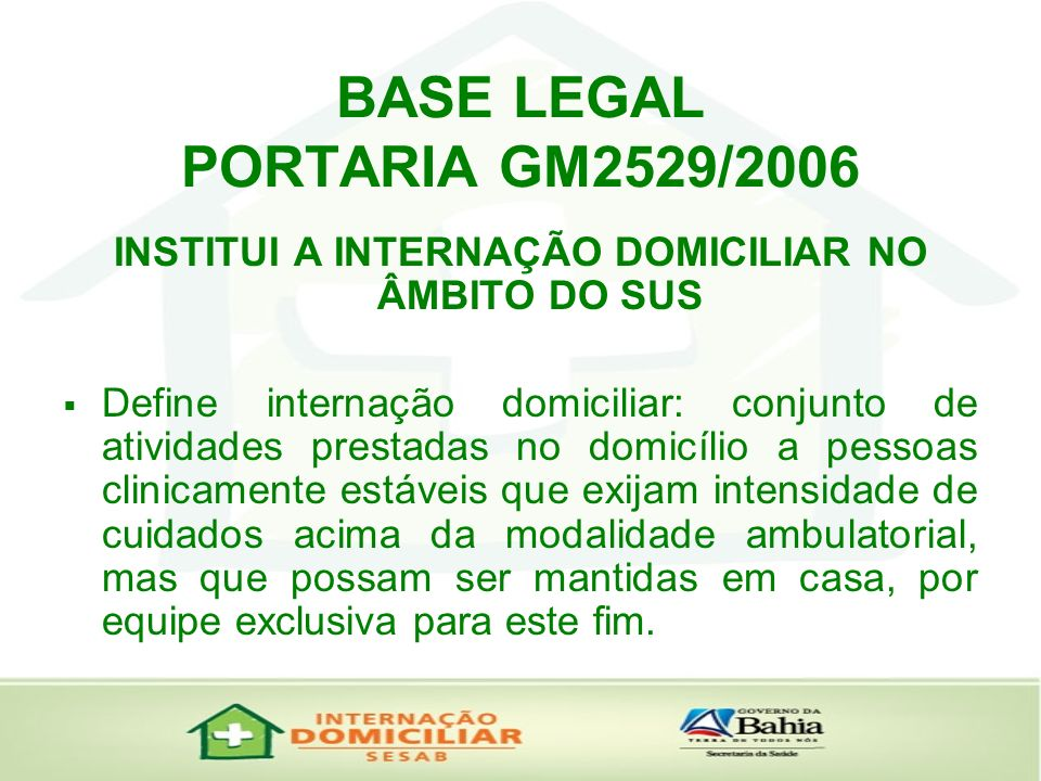 BASE LEGAL PORTARIA GM2529/2006