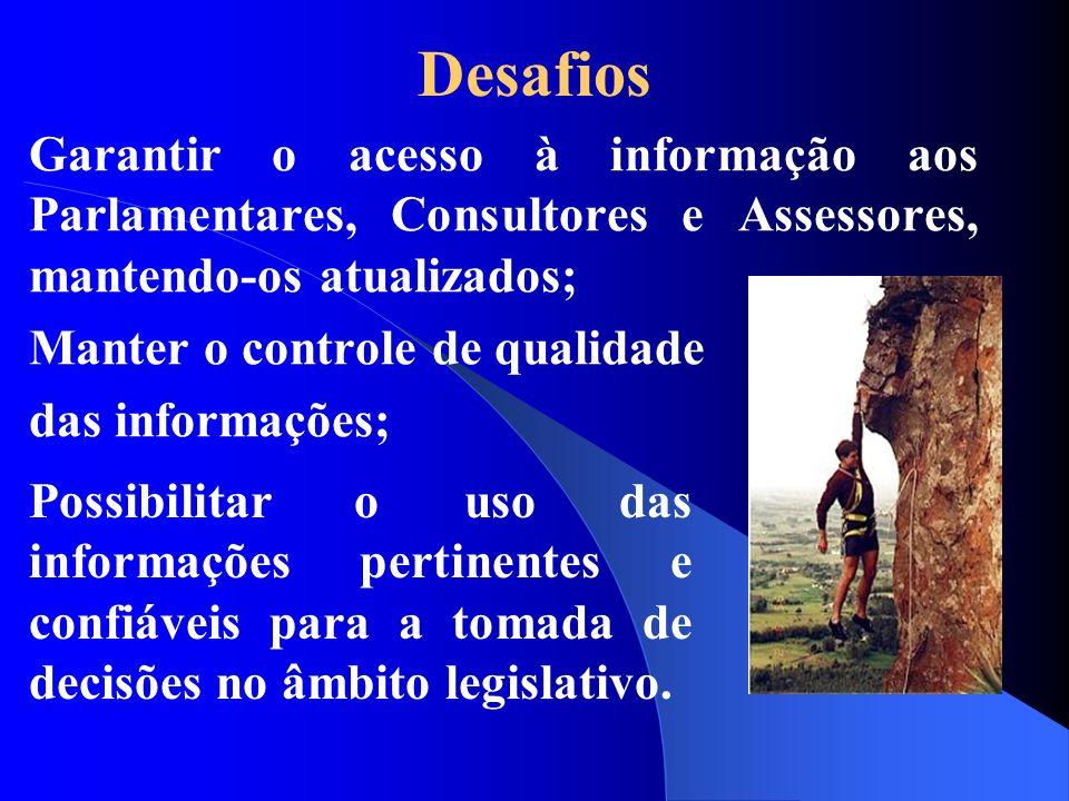DesafiosGarantir o acesso à informação aos Parlamentares, Consultores e Assessores, mantendo-os atualizados;