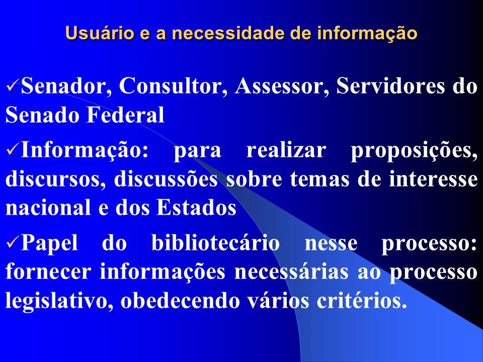 Usuário e a necessidade de informação