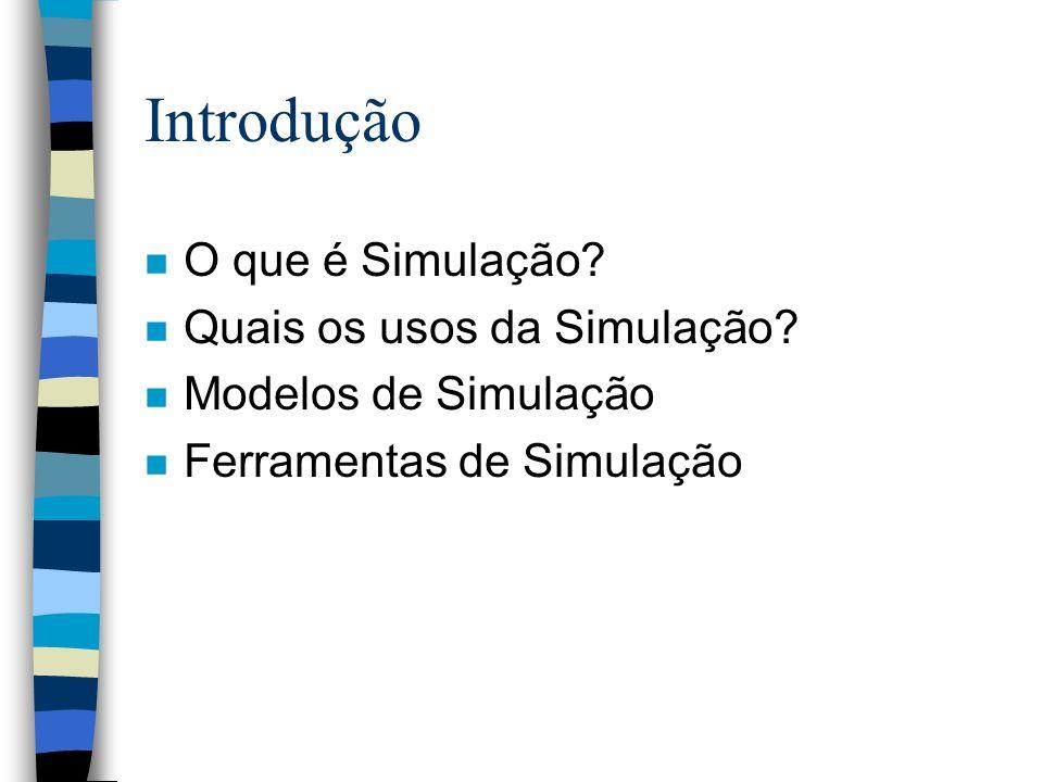Introdução O que é Simulação Quais os usos da Simulação
