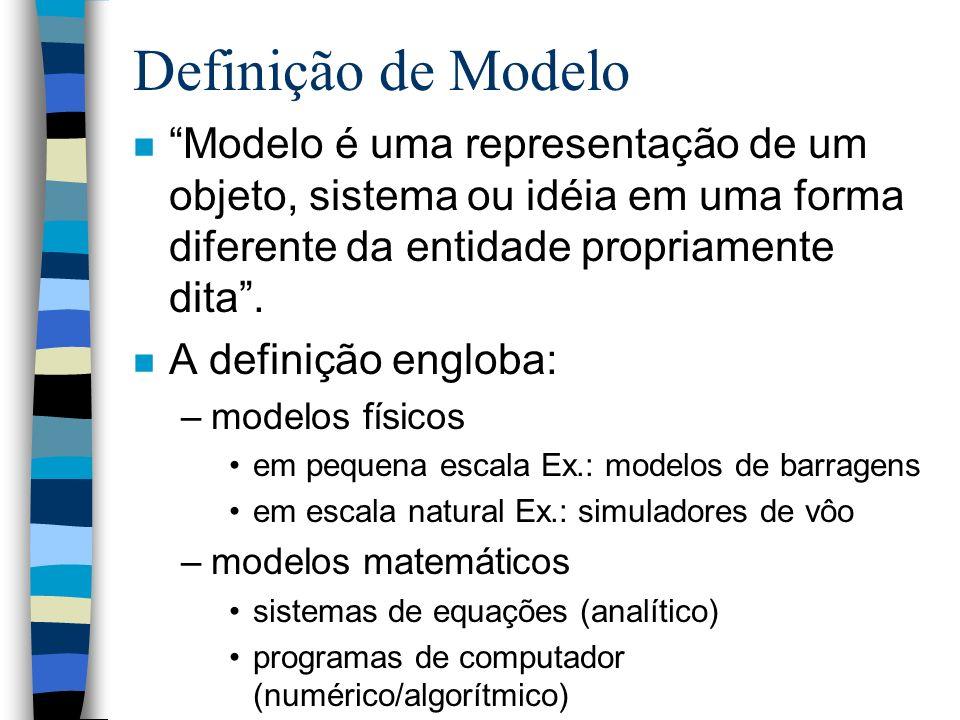 Definição de Modelo Modelo é uma representação de um objeto, sistema ou idéia em uma forma diferente da entidade propriamente dita .