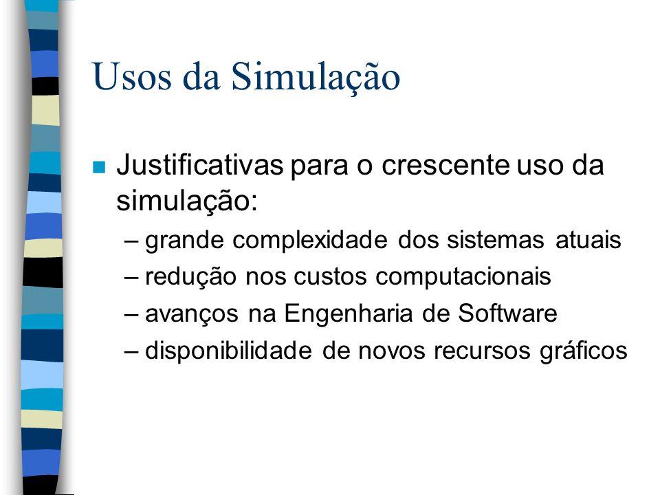 Usos da Simulação Justificativas para o crescente uso da simulação: