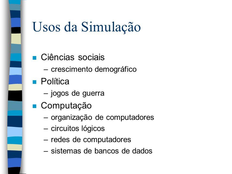 Usos da Simulação Ciências sociais Política Computação