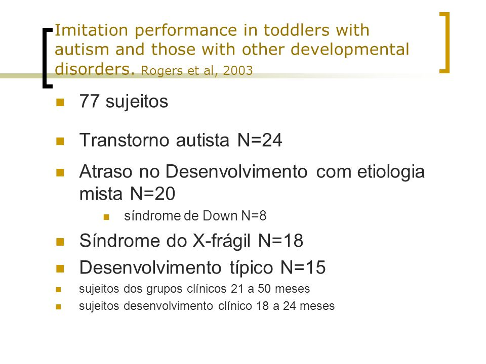 Atraso no Desenvolvimento com etiologia mista N=20