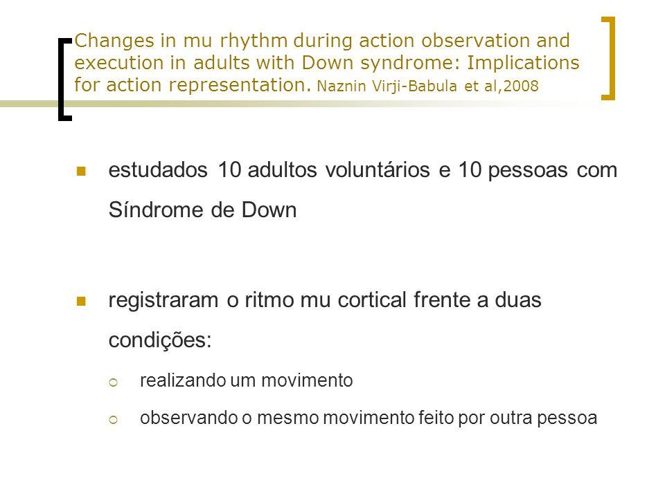 estudados 10 adultos voluntários e 10 pessoas com Síndrome de Down