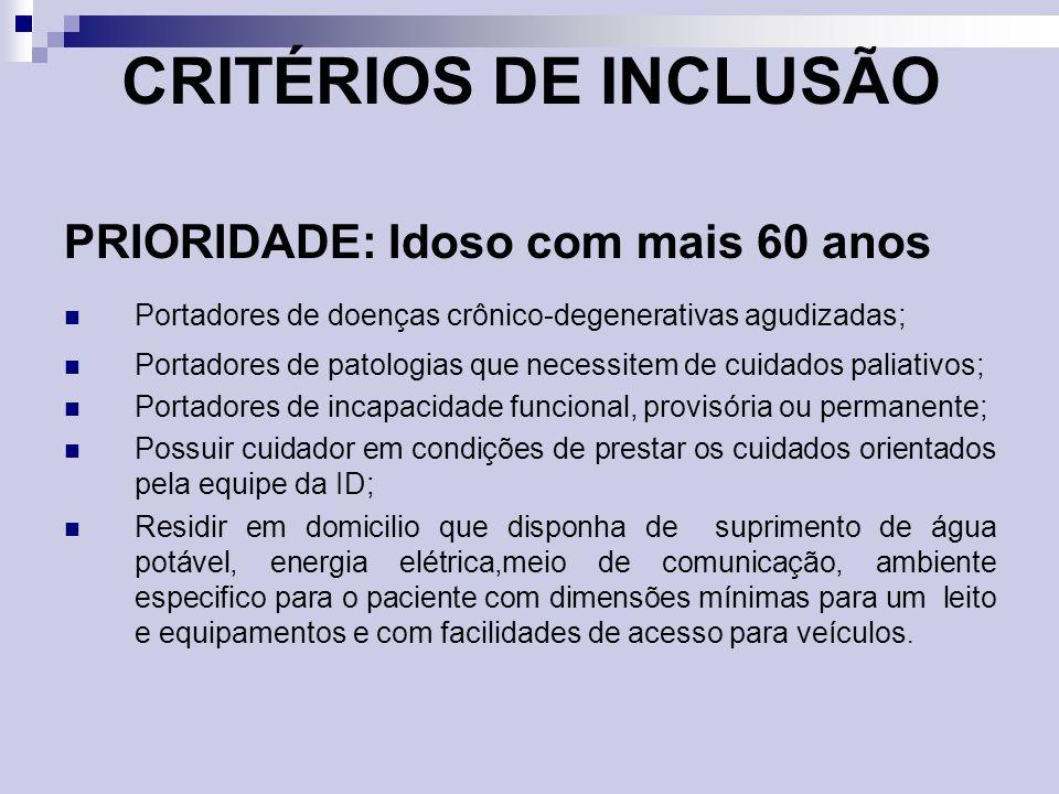 CRITÉRIOS DE INCLUSÃO PRIORIDADE: Idoso com mais 60 anos