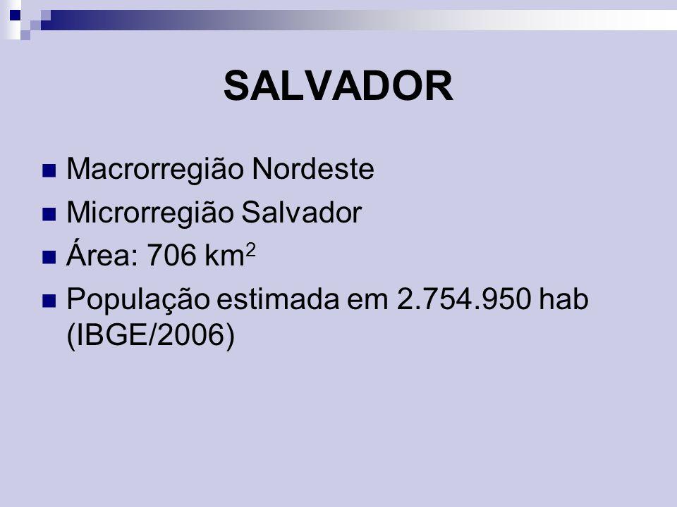 SALVADOR Macrorregião Nordeste Microrregião Salvador Área: 706 km2