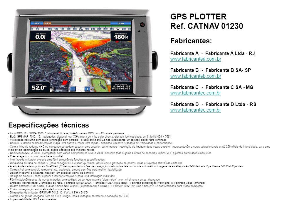 GPS PLOTTER Ref. CATNAV 01230 Fabricantes: Especificações técnicas
