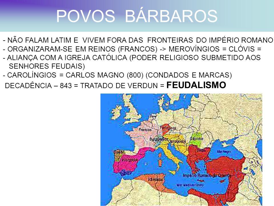 POVOS BÁRBAROS NÃO FALAM LATIM E VIVEM FORA DAS FRONTEIRAS DO IMPÉRIO ROMANO. ORGANIZARAM-SE EM REINOS (FRANCOS) -> MEROVÍNGIOS = CLÓVIS =