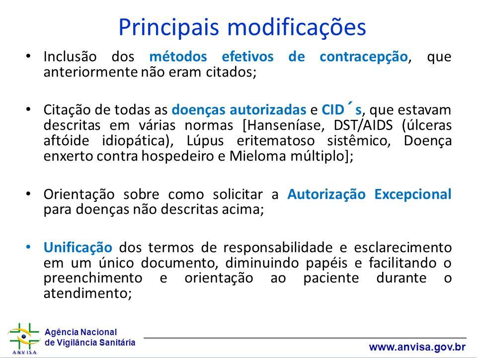 Principais modificações