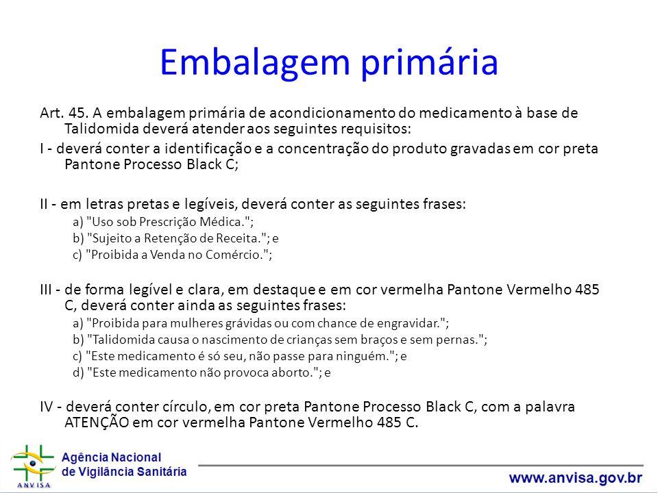 Embalagem primáriaArt. 45. A embalagem primária de acondicionamento do medicamento à base de Talidomida deverá atender aos seguintes requisitos: