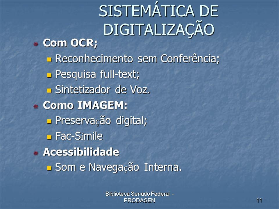 SISTEMÁTICA DE DIGITALIZAÇÃO