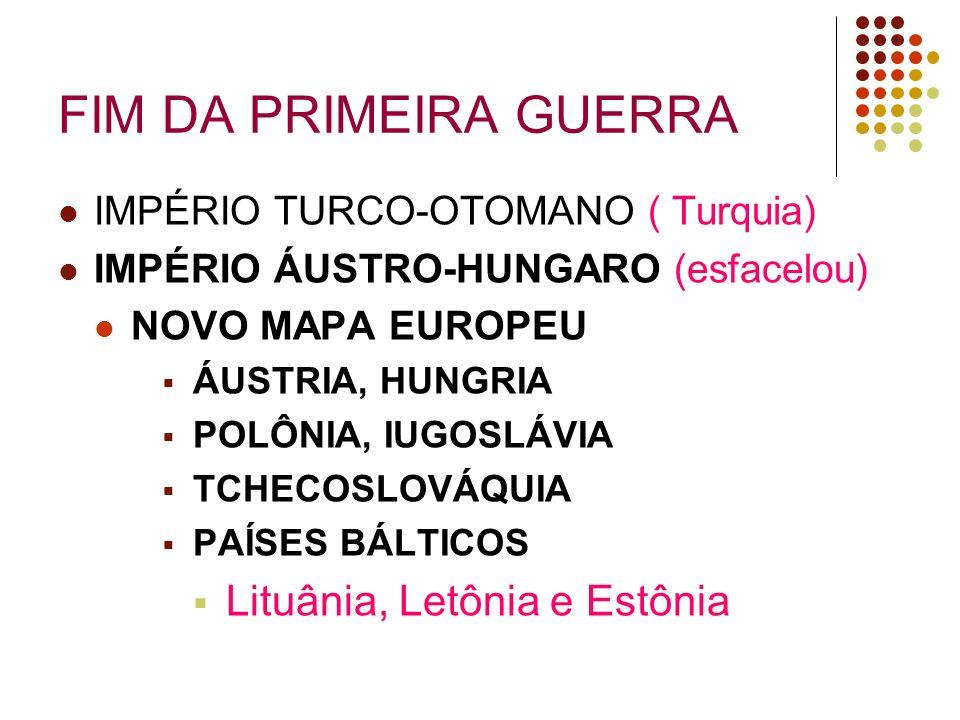 FIM DA PRIMEIRA GUERRA Lituânia, Letônia e Estônia