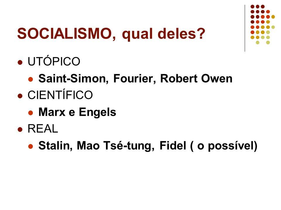 SOCIALISMO, qual deles UTÓPICO Saint-Simon, Fourier, Robert Owen