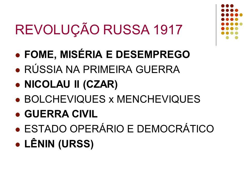 REVOLUÇÃO RUSSA 1917 FOME, MISÉRIA E DESEMPREGO