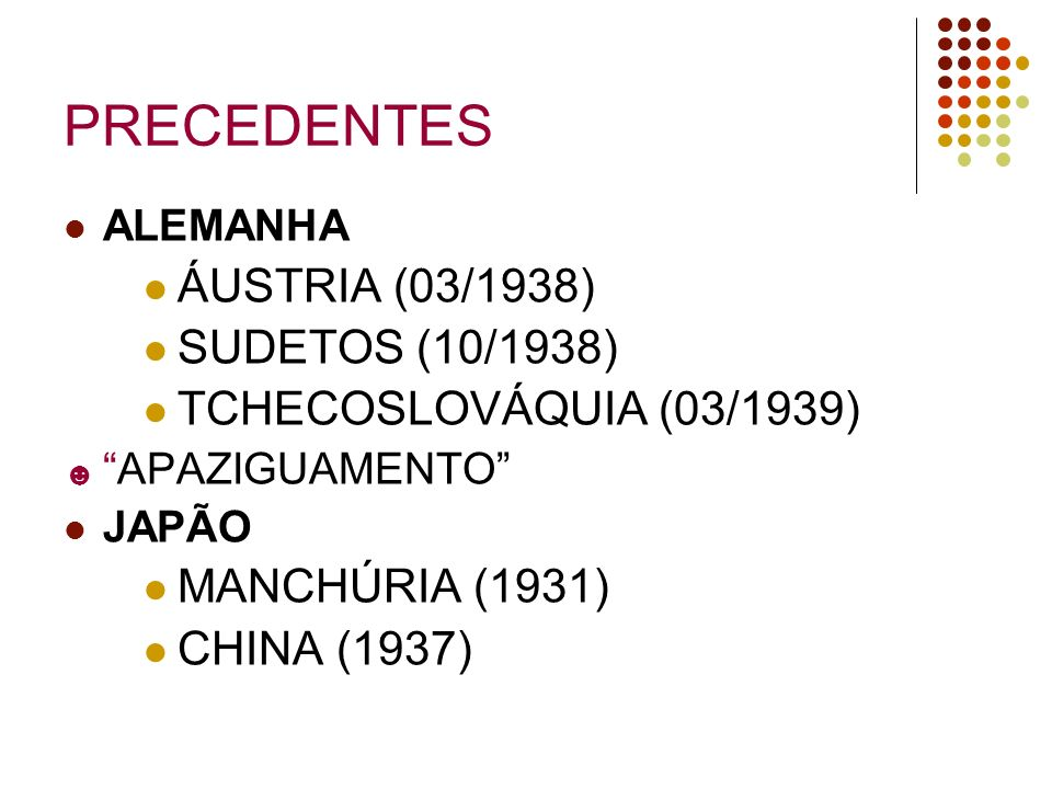 PRECEDENTES ÁUSTRIA (03/1938) SUDETOS (10/1938)
