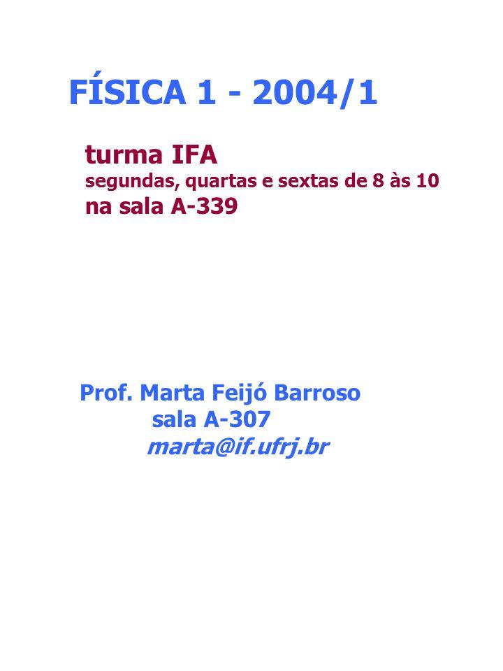 FÍSICA 1 - 2004/1 turma IFA na sala A-339 Prof. Marta Feijó Barroso