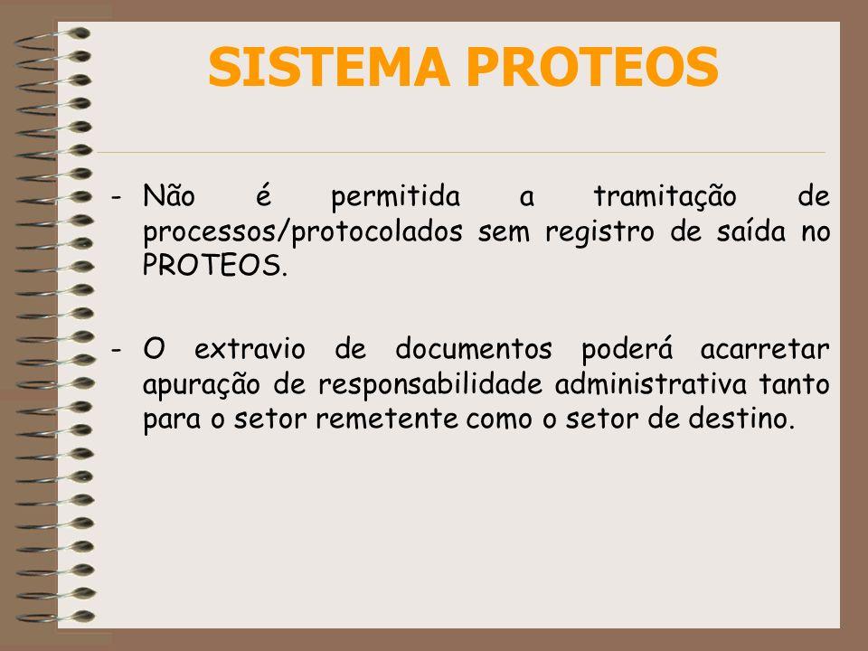 SISTEMA PROTEOS Não é permitida a tramitação de processos/protocolados sem registro de saída no PROTEOS.