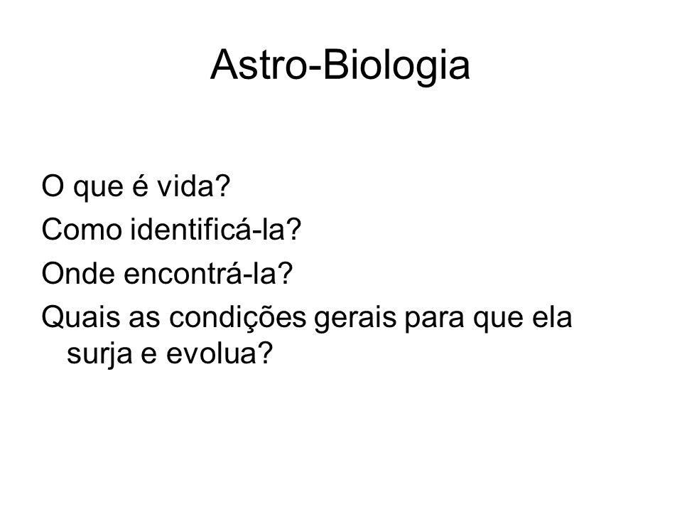 Astro-Biologia O que é vida Como identificá-la Onde encontrá-la