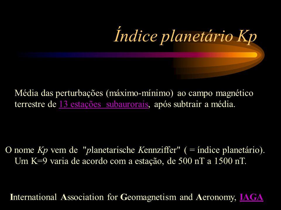 Índice planetário Kp Média das perturbações (máximo-mínimo) ao campo magnético terrestre de 13 estações subaurorais, após subtrair a média.