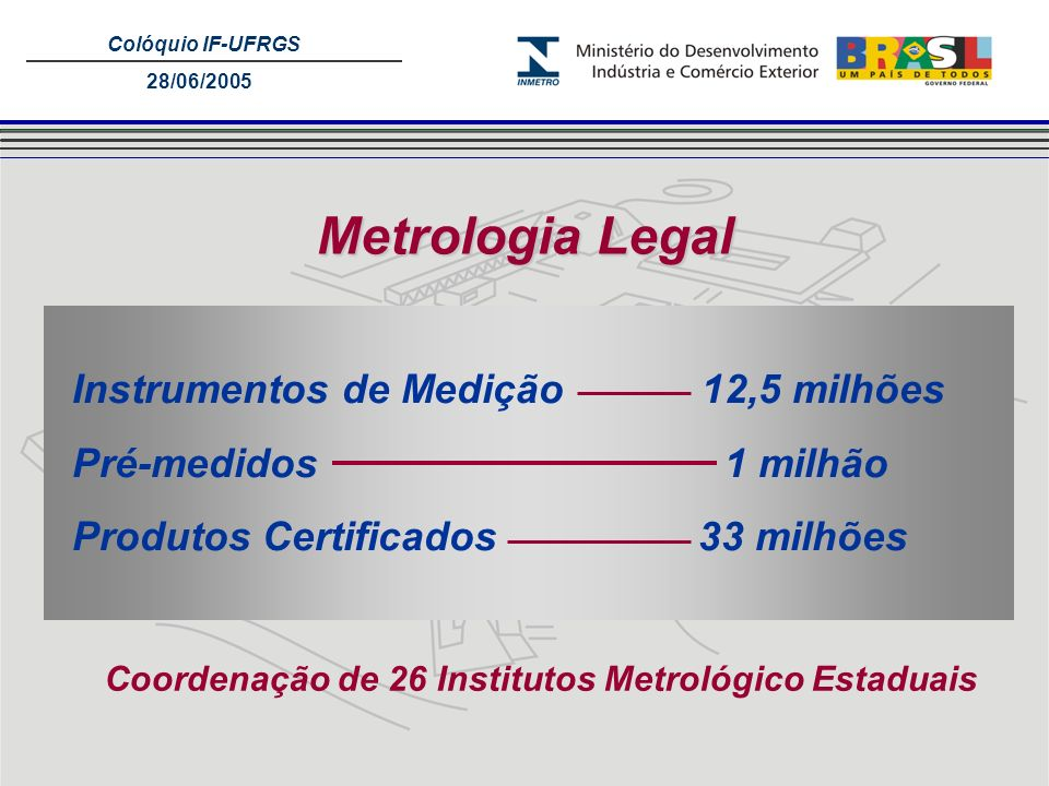Coordenação de 26 Institutos Metrológico Estaduais