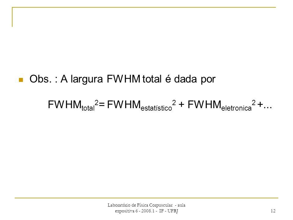 Obs. : A largura FWHM total é dada por